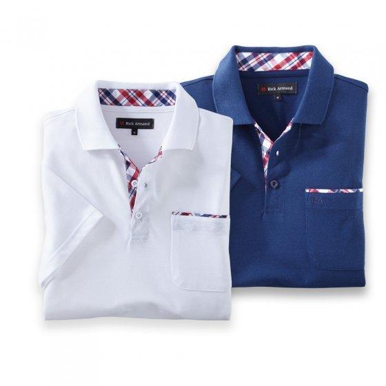 Poloshirt met contrastbeleg Set van 2 stuks