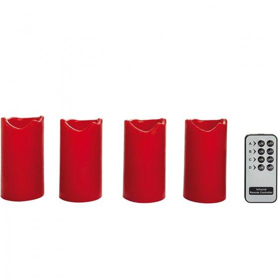 Led-waskaarsen, 4-delige set met afstandsbediening
