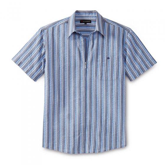 Seersuckeroverhemd met een ritssluiting