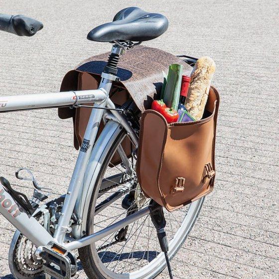 Dubbele fietstas in retro-look