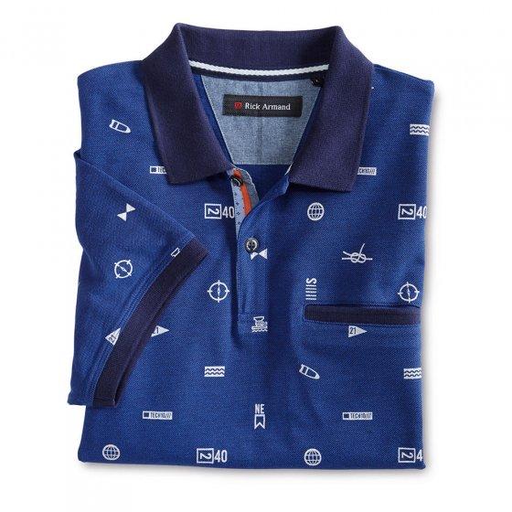 Gedessineerd poloshirt XL | Blauw-gedrukt