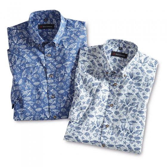 Zomers gedessineerd overhemd 2 stuks