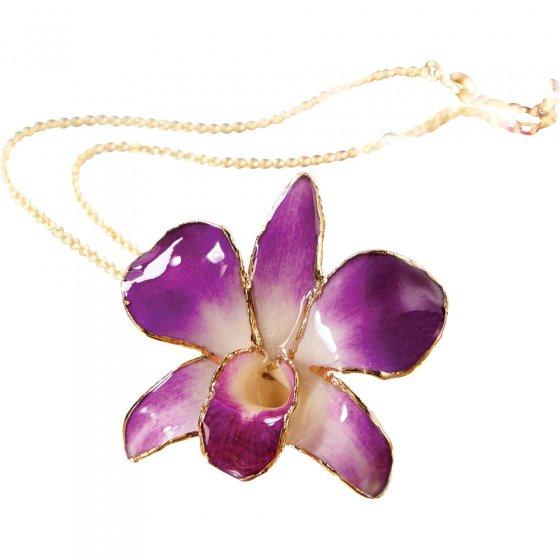 Ketting met echte orchidee bloem