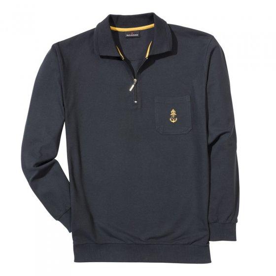 Polo-Langarmshirt,schwarz,3XL