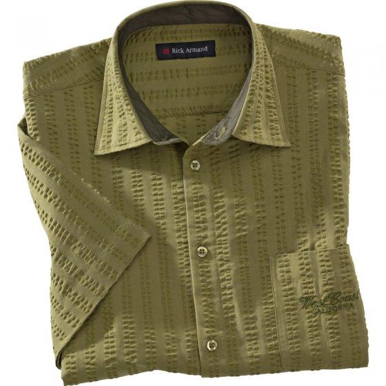 Seersucker hemd Khaki + Natuur