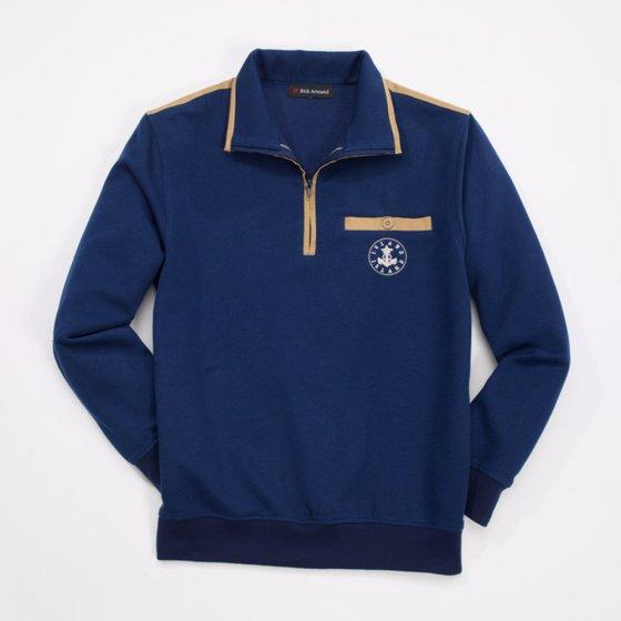 Sweater met polarvoering Beige + Marine (Set)