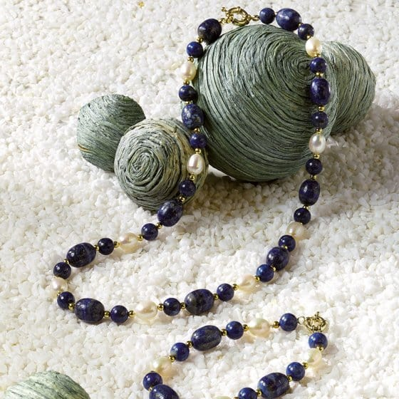 Lapis lazuli gekweekte parels sieraad