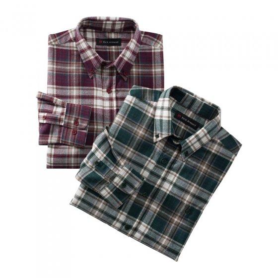 Flanellen overhemd in set van 2