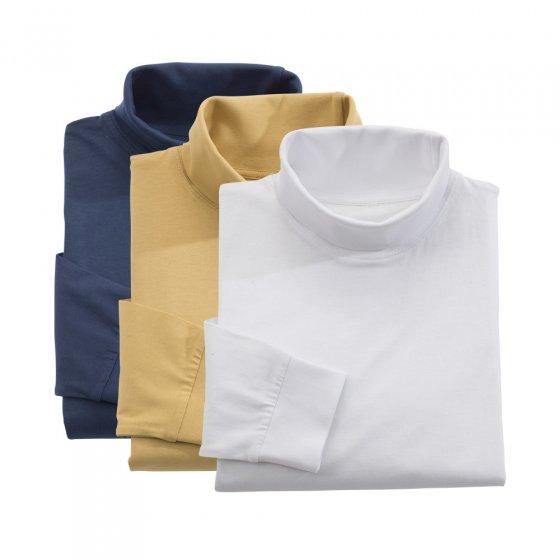 T-shirt met lange mouwen en col 3 stuks XXL | Marine#Wit#Camel