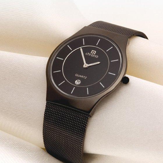 Superdun zwart herenhorloge