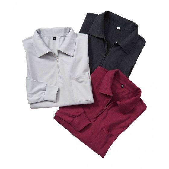Jersey-poloshirt in set van 3 L | Antraciet#Bordeaux#Zilverkleur
