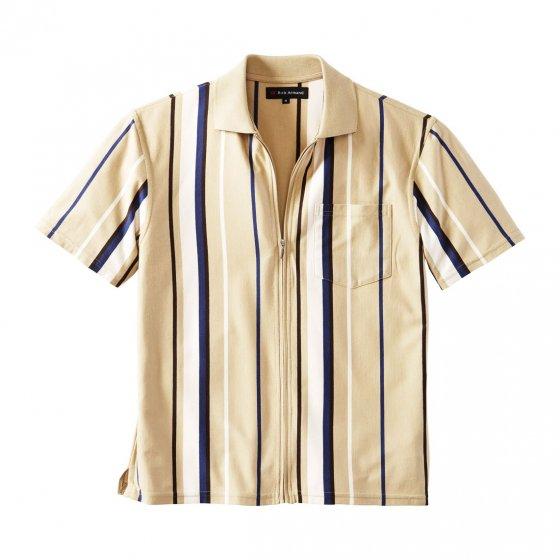 Jerseyshirt met doorlopende ritssluiting M | Beige