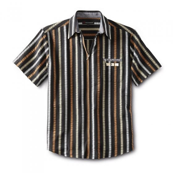 Seersucker-overhemd met ritssluiting M | Zwartgestreept