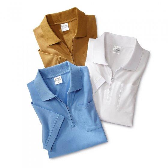 Jersey-poloshirt 3 stuks L | Zand#Lichtblauw#Wit