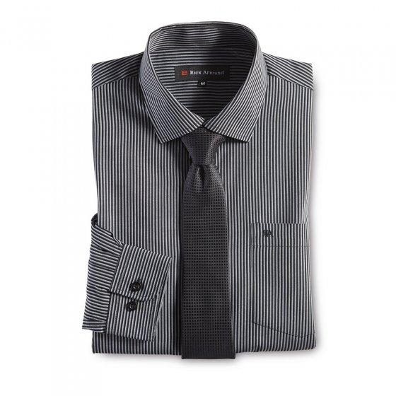 Overhemd met stropdas XL | Zwartgestreept