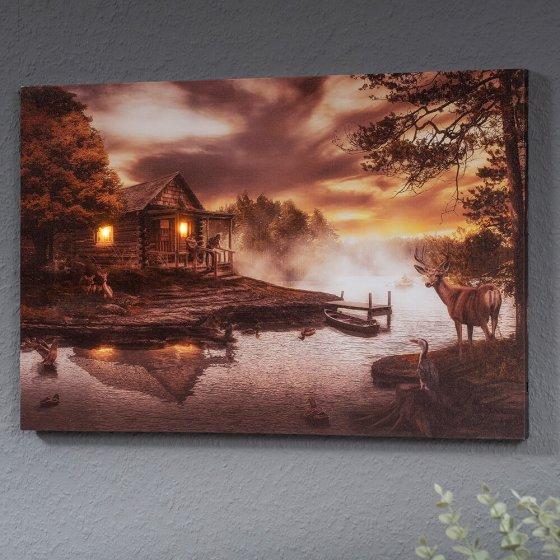 Led-artprint 'Hut aan het meer'