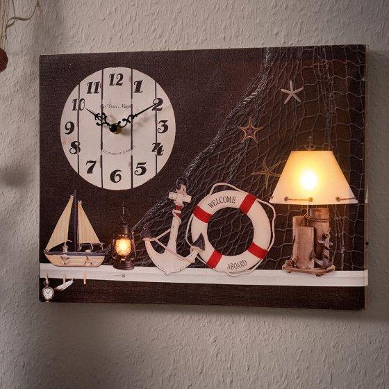 Maritieme led-artprint met klok