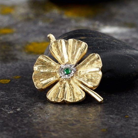 Geluksklaver hanger met smaragd