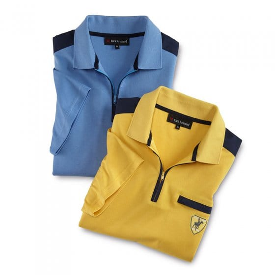 Interlock-shirt met ritskraag