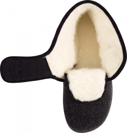 Lamswollen pantoffels met klittenband