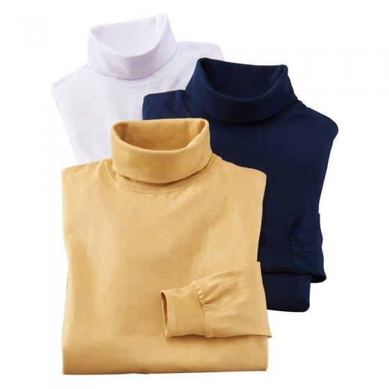 T-shirt met lange mouwen en col 3 stuks